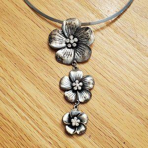 Lia Sophia Silver Choker Embellished With Flowers